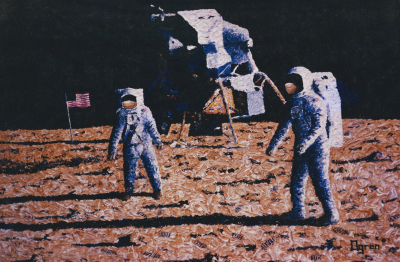 Apollo 11, astronaut, Neil Armstrong, painting, moon, moon landing, first on the moon, Cape Canaveral, space, launch